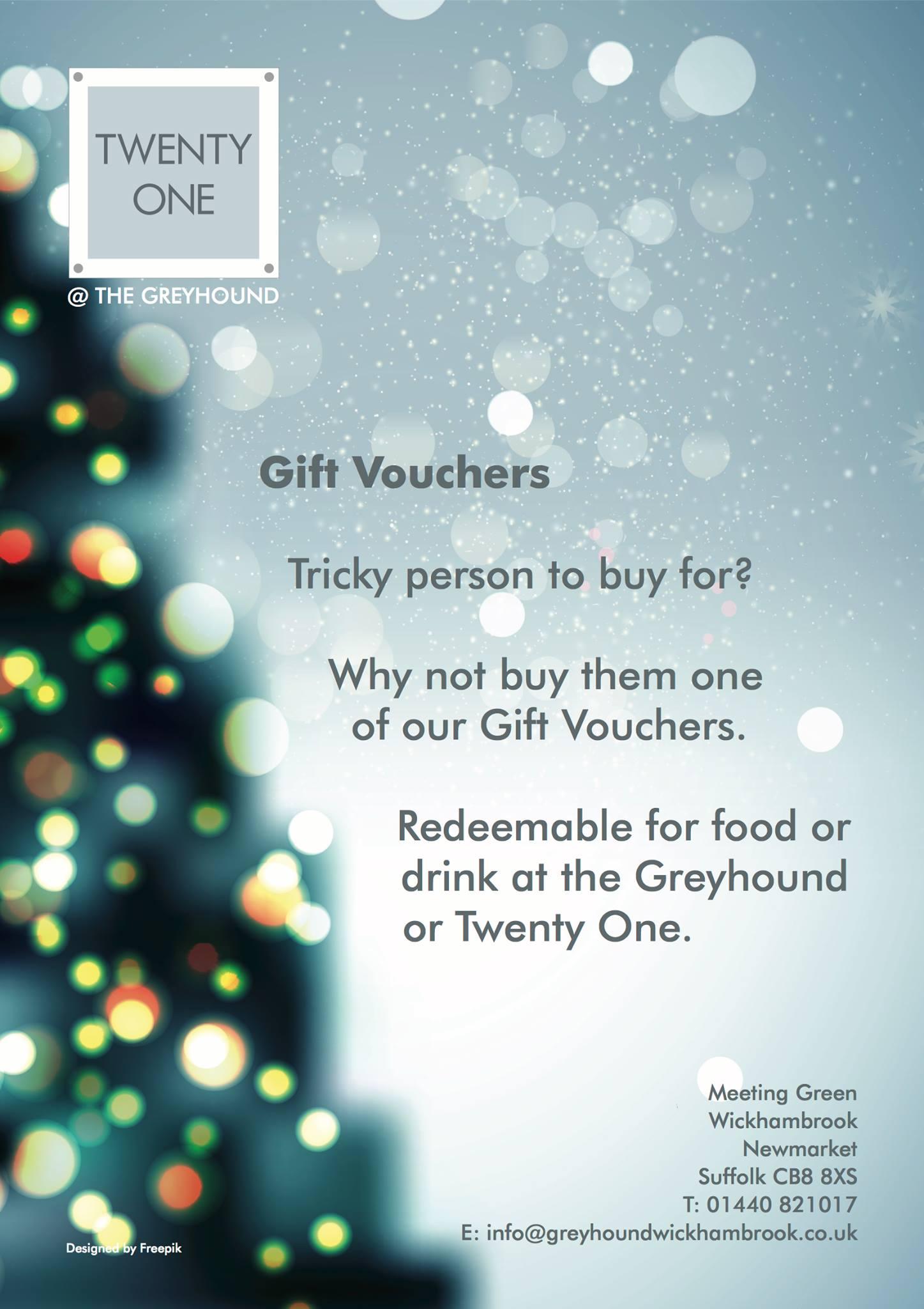 Greyhound Wickhambrook Gift Vouchers